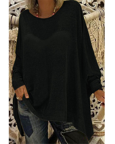 Black Women's solid color loose round neck long sleeve top T-shirt