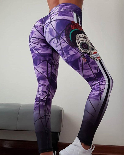 Violet Slim hip print yoga pants leggings pencil pants