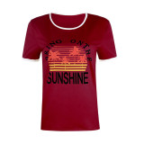 Claret Ladies short sleeve round neck print T-shirt