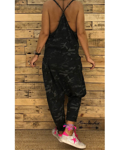 Black Women's new sling camouflage jumpsuit