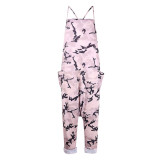 Pink Women's new sling camouflage jumpsuit