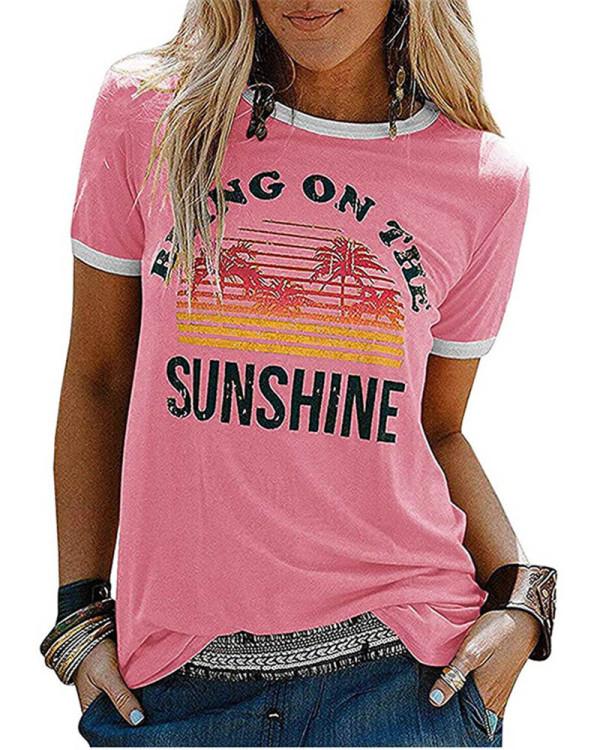 Pink Ladies short sleeve round neck print T-shirt