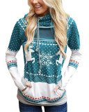 Green Christmas zipper print pocket hooded finger sweatshirt