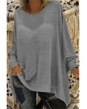 Dark gray Women's solid color loose round neck long sleeve top T-shirt