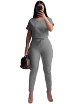 Gray Leisure sports V-neck solid color two-piece suit