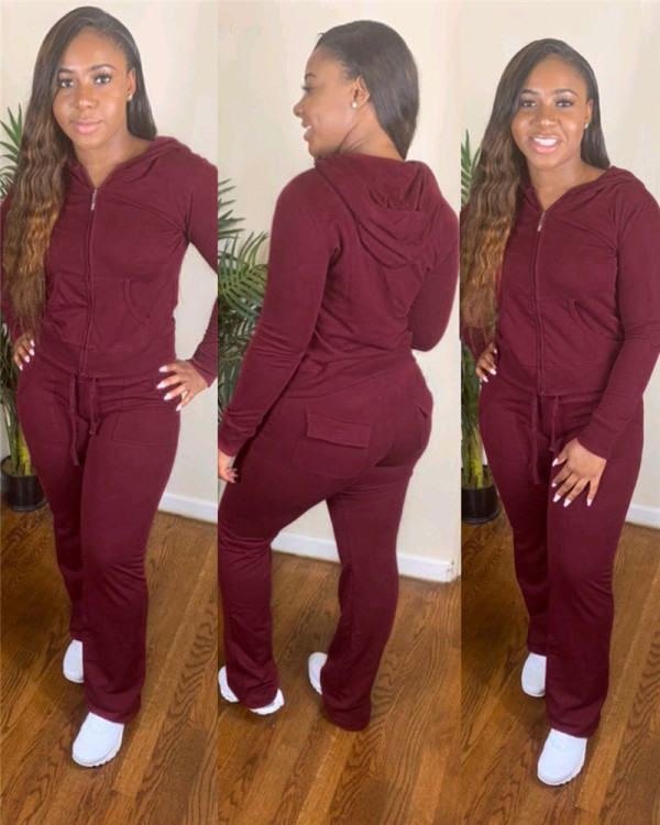 Red Zipper Hooded Jacket Long Sleeve Pants Set