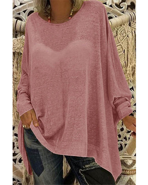 Red Women's solid color loose round neck long sleeve top T-shirt