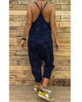 Dark buleWomen's new sling camouflage jumpsuit