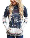 Dark bule Christmas zipper print pocket hooded finger sweatshirt