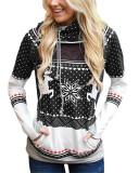 Black Christmas zipper print pocket hooded finger sweatshirt