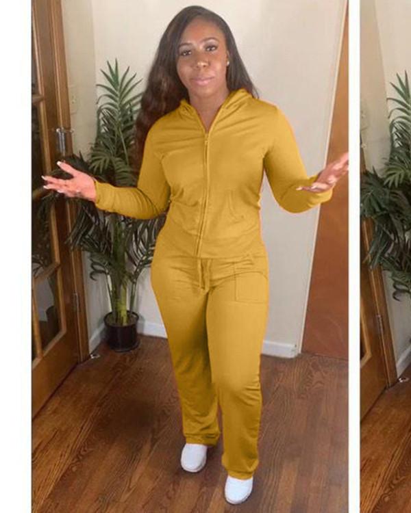 Yellow Zipper Hooded Jacket Long Sleeve Pants Set