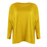 Yellow Women's solid color loose round neck long sleeve top T-shirt