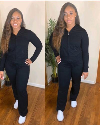 Black Zipper Hooded Jacket Long Sleeve Pants Set