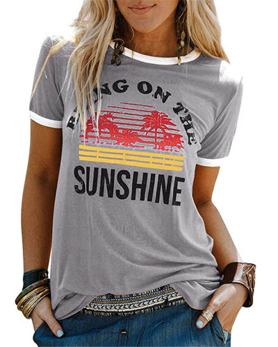 Gray Ladies short sleeve round neck print T-shirt