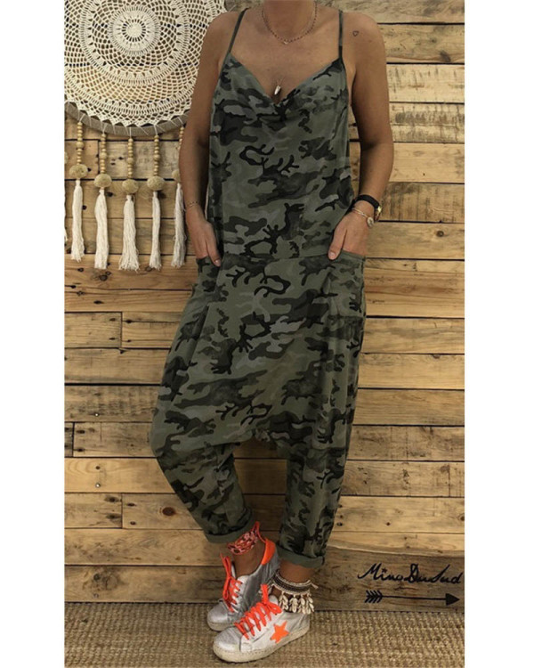 Army green Women's new sling camouflage jumpsuit
