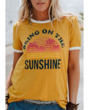Yellow Ladies short sleeve round neck print T-shirt