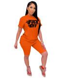 Orange Printed hedging fashion casual suit