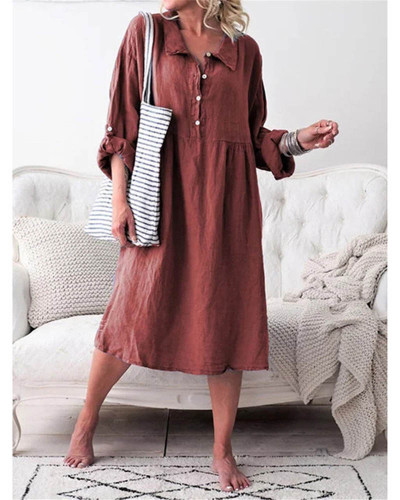 Red Women's loose button mid length dress