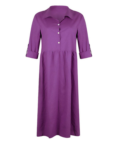 Violet Women's loose button mid length dress