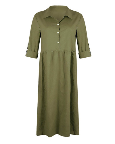 Army green Women's loose button mid length dress