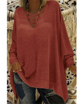 Red Loose V-neck long-sleeved women's bat shirt T-shirt top