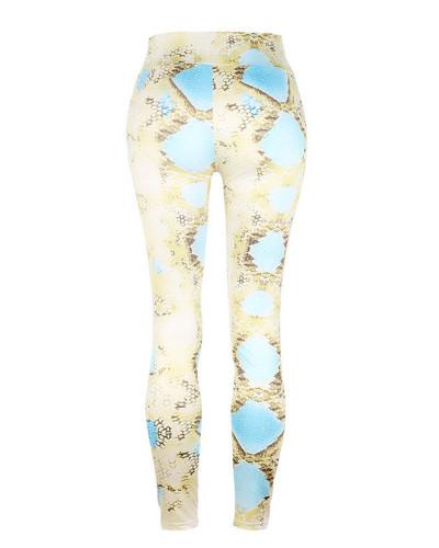 Yellow Slim fit Snake Print Yoga Pants Leggings
