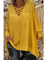 Yellow Loose V-neck long-sleeved women's bat shirt T-shirt top