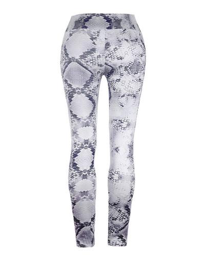 Gray Slim fit Snake Print Yoga Pants Leggings