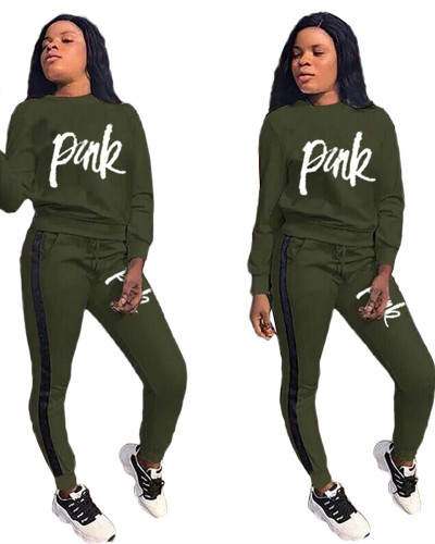 Green Splicing printed letters leisure sports two-piece suit