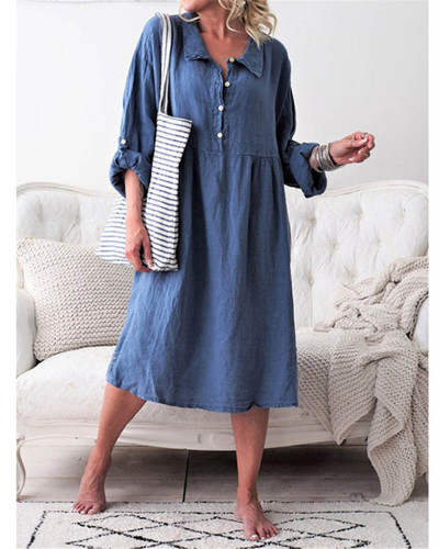 Bule Women's loose button mid length dress