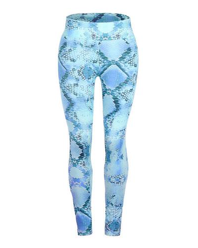 Bule Slim fit Snake Print Yoga Pants Leggings