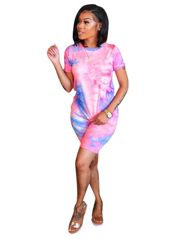 Pink Casual fashion tie dye printed suit