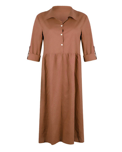 Khaki Women's loose button mid length dress