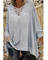 Gray Loose V-neck long-sleeved women's bat shirt T-shirt top