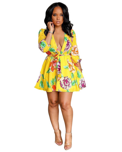 Yellow Fashion printed deep V-neck belted dress