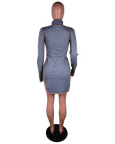 Gray Stand-alone fashion casual dress with slits