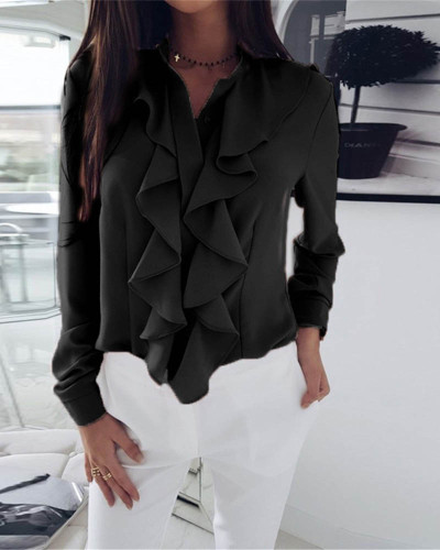 Black Long-sleeved ruffled V-neck shirt