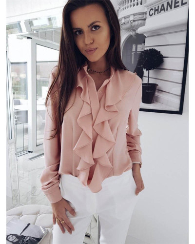 Pink Long-sleeved ruffled V-neck shirt