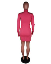Red Stand-alone fashion casual dress with slits