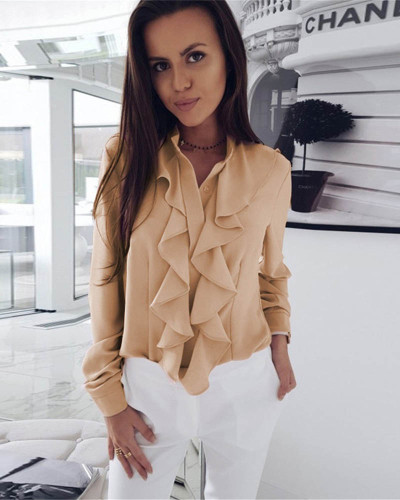 Khaki Long-sleeved ruffled V-neck shirt