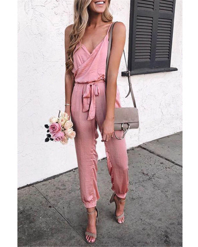 Pink Solid color suspender belt jumpsuit