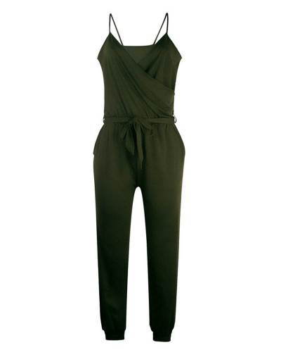 Army green Solid color suspender belt jumpsuit