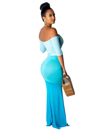 Blue Sexy fashion foreign trade hanging shoulder three-color jumpsuit big swing skirt
