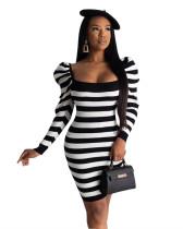 Black Positioning print striped off-the-shoulder dress