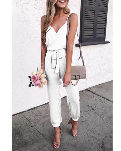 White Solid color suspender belt jumpsuit