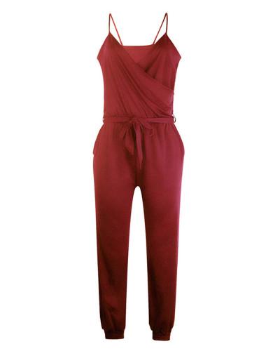 Red Solid color suspender belt jumpsuit