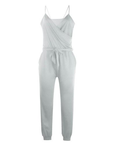Gray Solid color suspender belt jumpsuit
