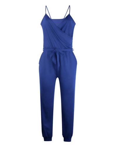 Bule Solid color suspender belt jumpsuit