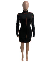 Black Stand-alone fashion casual dress with slits