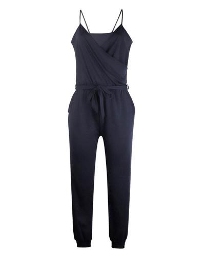 Dark bule Solid color suspender belt jumpsuit